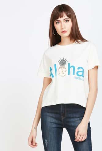 GINGER Typographic Print Regular Fit T-shirt