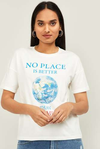 GINGER Women Graphic Print Regular Fit Drop-Shoulder T-shirt