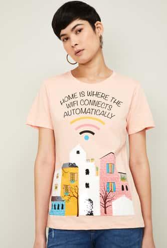 GINGER Women Graphic Print Short Sleeves T-shirt