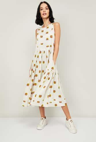 COLOUR ME Women Floral Print Sleeveless Midi Dress
