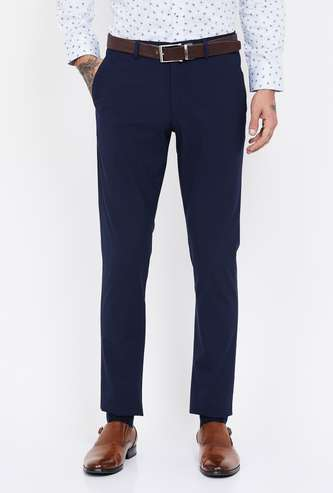 LOUIS PHILIPPE Solid Super Slim Flat-Front Formal Trousers