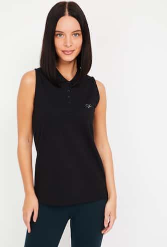 BOSSINI Solid Sleeveless Polo T-shirt