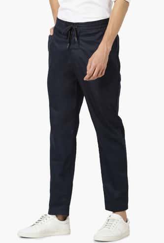 CELIO Men Solid Elasticated Slim Straight Fit Trousers