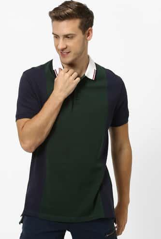 CELIO Colourblock Regular Fit Polo T-shirt with Contrast Collar