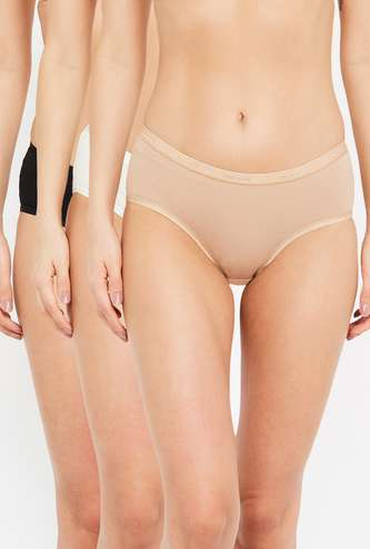 AMANTE Women's Solid Hipster Panties - Pack of 3