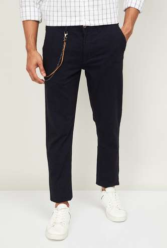 CODE Men Solid Slim Straight Casual Trousers
