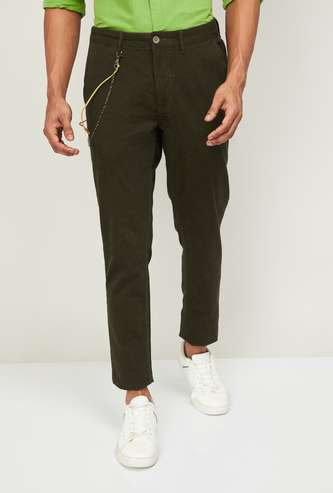 CODE Men Solid Slim Fit Casual Trousers