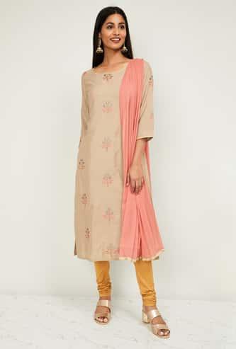 MELANGE Women Embroidered Straight Kurta with Dupatta