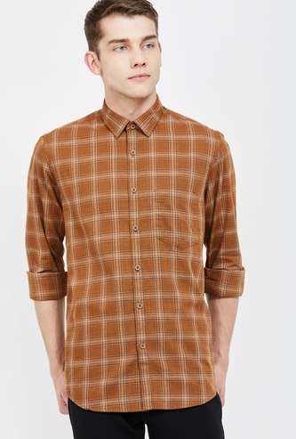 COLORPLUS Checked Full Sleeves Slim Fit Casual Shirt