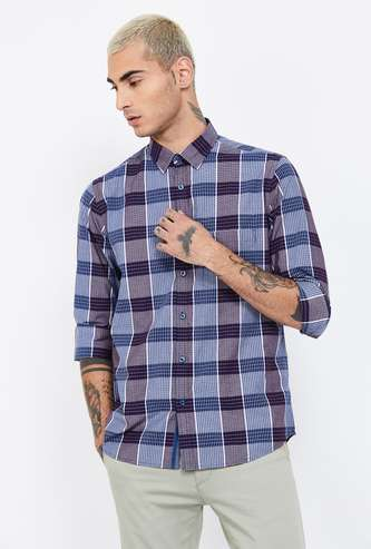 COLORPLUS Checked Slim Fit Casual Shirt