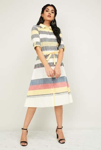 AURELIA Women Colourblocked Tie-Up Waist Shirt Dress
