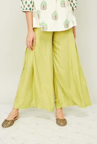 AURELIA Women Solid Palazzo Pants with Inverted Pleats