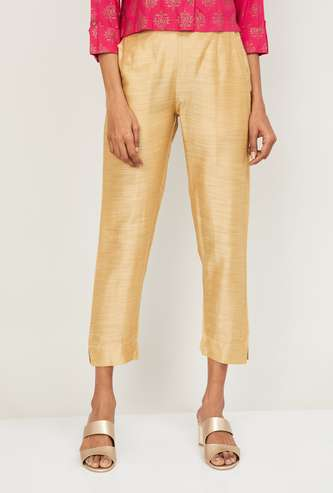 AURELIA Women Solid Cropped Straight Pants