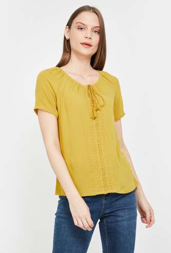 BOSSINI Embroidered Top with Raglan Sleeves