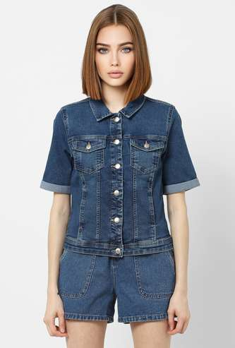 ONLY Women Denim Jacket with Pocket and Short Sleeves