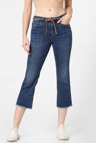 ONLY Dark Washed Slim Cropped Jeans with Frayed Hems
