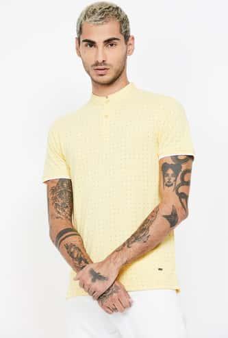 CODE Printed Regular Fit Johnny Collar T-shirt