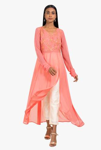 INDYA Embellished Front-Slit Tunic