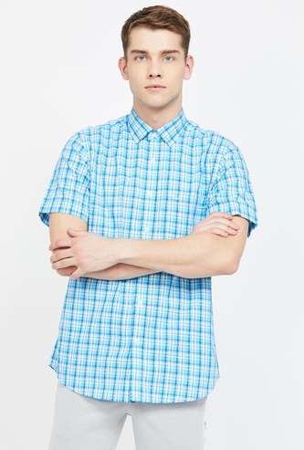COLORPLUS Checked Short Sleeves Slim Fit Casual Shirt
