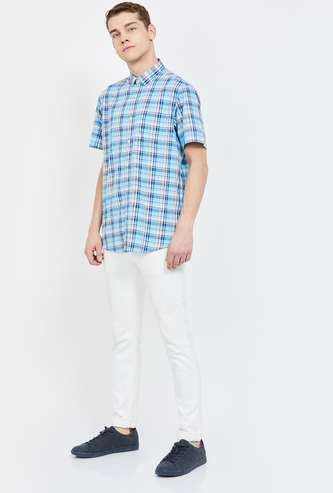 COLORPLUS Checked Short Sleeves Slim Fit Shirt