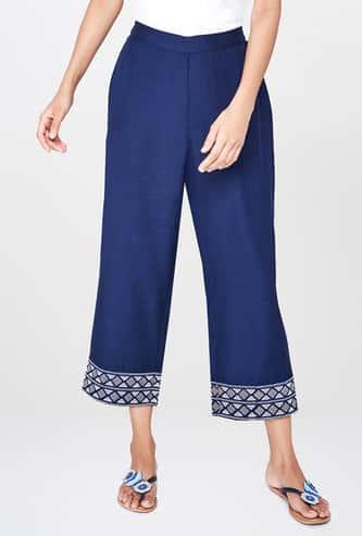 GLOBAL DESI Solid Elasticated Straight Pants