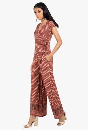 INDYA Printed Tie-Up Detailed Jumpsuit
