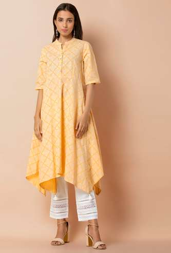 INDYA Checked Handkerchief Hem A-line Kurta