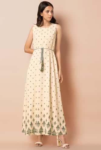 INDYA Print Sleeveless Long Dress with Waist Tie Up