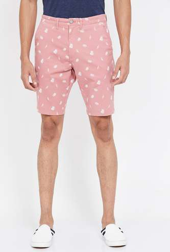 T-BASE Men Printed Slim Fit City Shorts