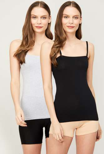 GINGER Women Solid Camisole- Pack of 2