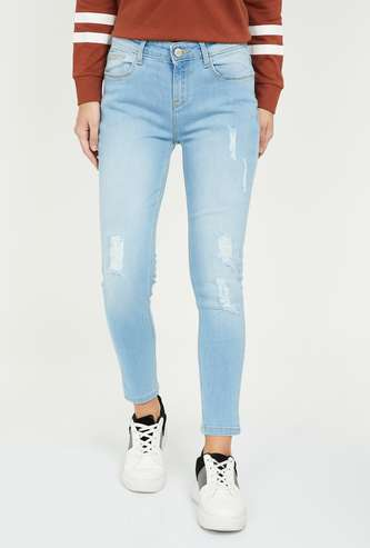 JEALOUS 21 Women Lightly Washed Distressed Skinny Jeans