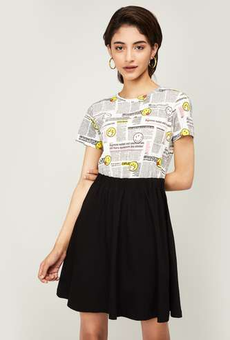 SMILEYWORLD Women Printed Fit and Flare Dress