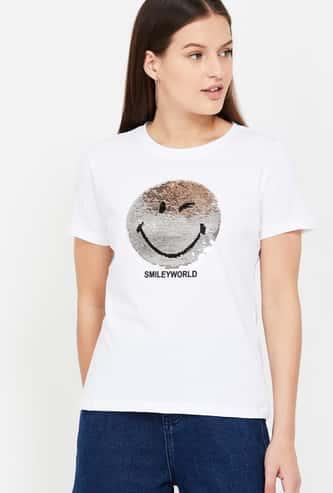 SMILEYWORLD Printed Round Neck T-shirt