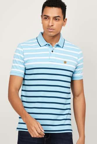 FAHRENHEIT Men Striped Regular Fit Polo T-shirt