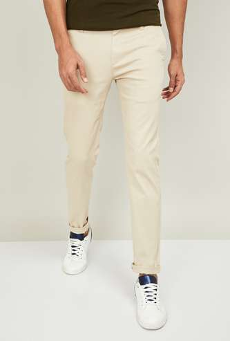 FAME FOREVER Men Textured Slim Tapered Premium Stretch Chinos