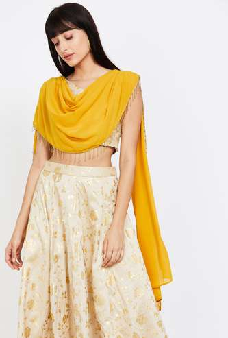 INDYA Floral Print Sleeveless Crop Top with Attached Dupatta