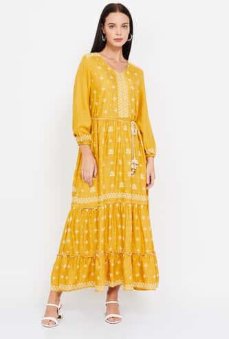 GLOBAL DESI Printed Tiered A-line Maxi Dress