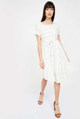 CODE Checked Fit & Flare Dress with Sash Tie-Up