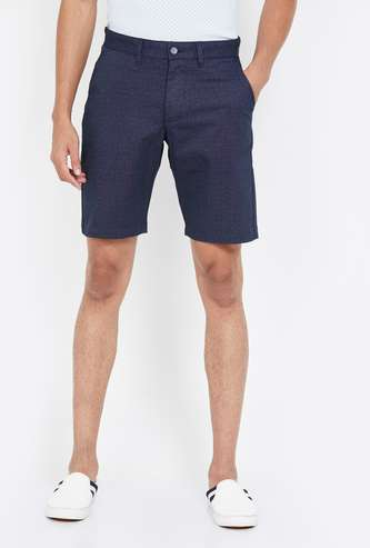CODE Men Textured Regular Fit Shorts
