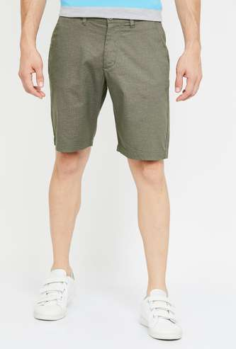 CODE Textured Regular Fit Casual Shorts