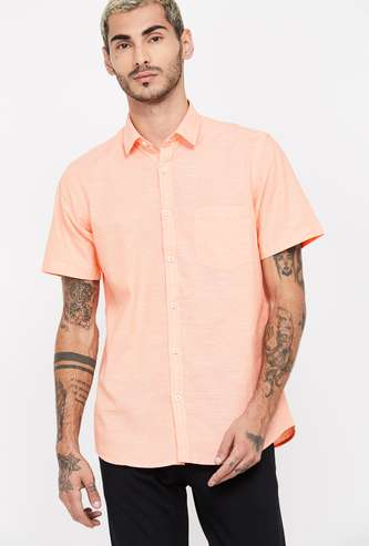 COLORPLUS Short Sleeves Slim Fit Dobby Casual Shirt