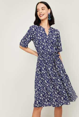 COLOUR ME Women Printed A-line Dress with Tie-Up Waist