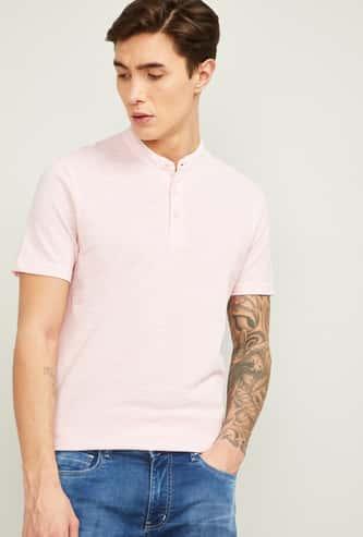 FAME FOREVER Men Solid Regular Fit Band Collar T-shirt