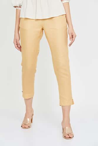 DE MOZA Women Striped Cropped Straight Pants