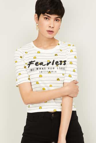 SMILEYWORLD Women Printed Round Neck T-shirt