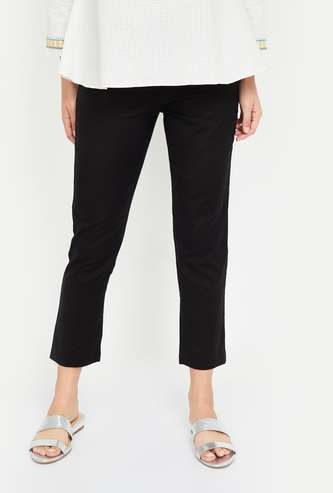 W Solid Cropped Straight Pants