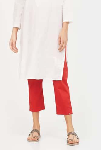 BIBA Printed Cropped Straight Pants
