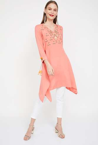 GLOBAL DESI Floral Embroidery Flared Tunic with Dipped Hems