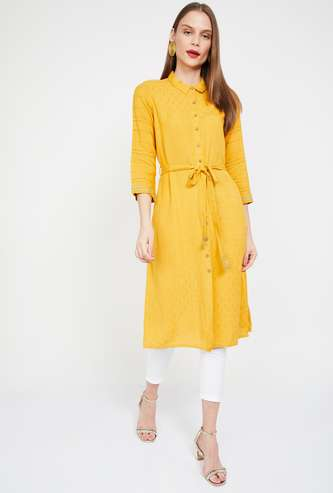 GLOBAL DESI Embroidered Collared Straight Tunic with Tie-Up