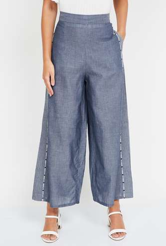 W Textured Ankle-Length Straight Pants